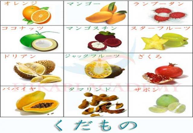 Chia sẻ một số từ vựng tiếng Nhật về hoa quả trái cây