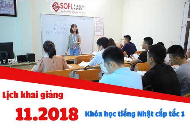Lịch khai giảng khóa học tiếng Nhật sơ cấp cấp tốc 1 tháng 11/2018