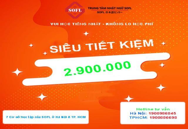 Giảm 2900K học phí cho 50 bạn đăng ký đầu tiên khóa học tiếng Nhật tại SOFL